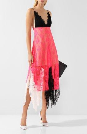 Кружевное платье-миди с оборками Christopher Kane розовое | Фото №1