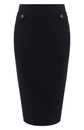 Шерстяная юбка-карандаш Windsor темно-синяя | Фото №1