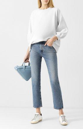 Укороченные джинсы с потертостями Ag голубые   Фото №1