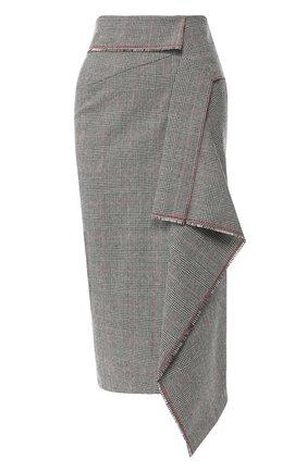 Шерстяная юбка асимметричного кроя Roland Mouret серая   Фото №1