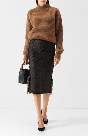 Вязаная юбка с бахромой Roland Mouret серая   Фото №1