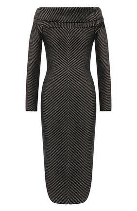 Вязаное платье с открытыми плечами Roland Mouret серое   Фото №1