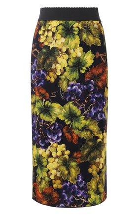 Юбка из вискозы с принтом Dolce & Gabbana желтая   Фото №1