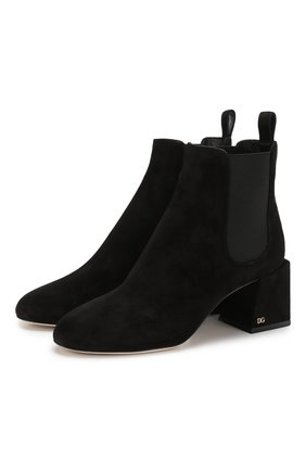 Замшевые ботильоны Vally на устойчивом каблуке Dolce & Gabbana черные   Фото №1