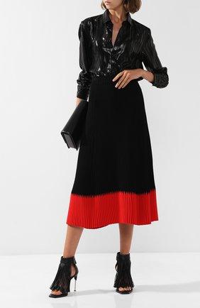 Кожаные босоножки с бахромой на шпильке Alexander McQueen черные   Фото №1
