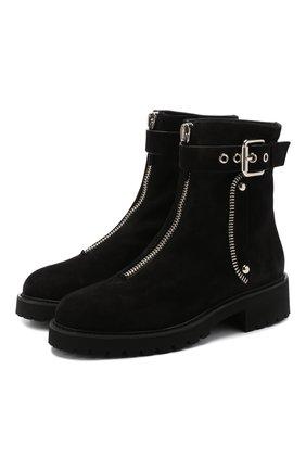 Замшевые ботинки с внутренней отделкой из меха кролика Giuseppe Zanotti Design черные | Фото №1