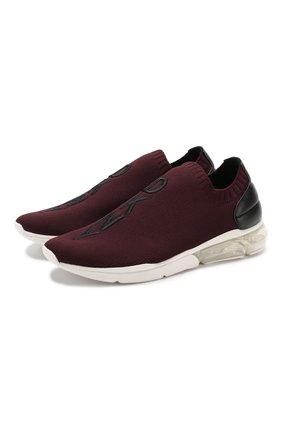 Текстильные кроссовки без шнуровки DKNY бордовые | Фото №1