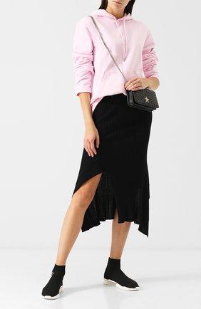 Высокие текстильные кроссовки без шнуровки DKNY черные | Фото №1