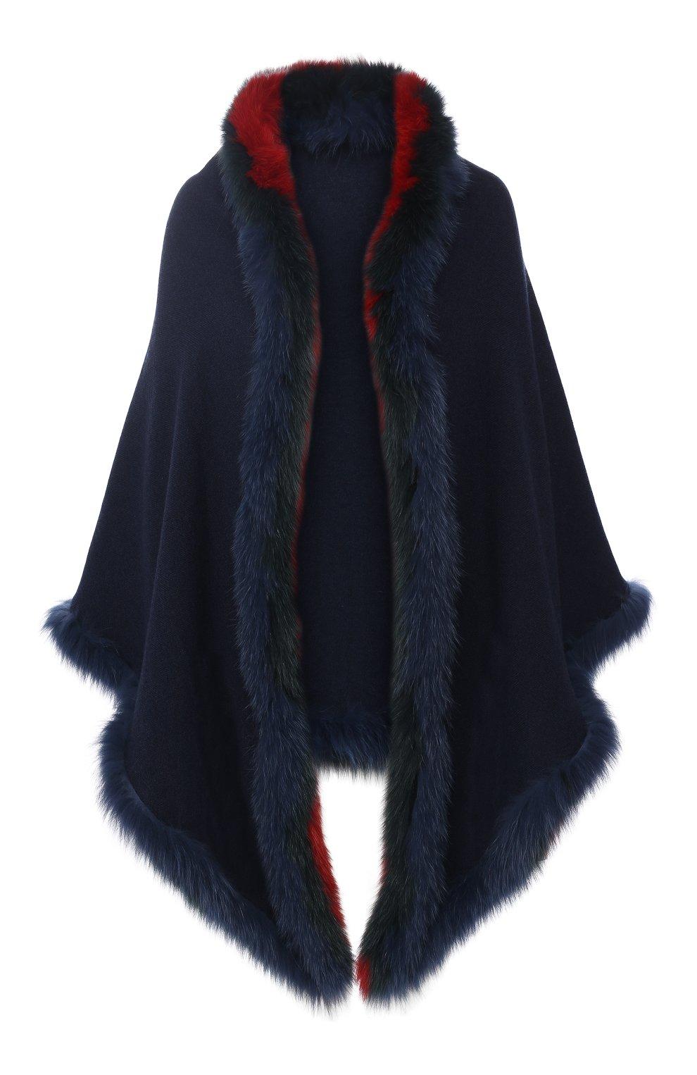 Кашемировое пончо с меховой отделкой   Фото №1