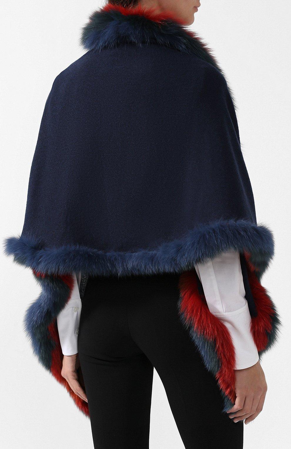Кашемировое пончо с меховой отделкой Loro Piana синяя   Фото №4