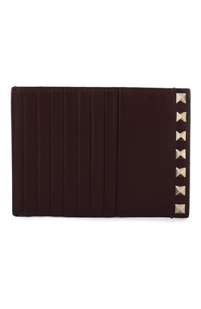 Женский кожаный футляр для кредитных карт valentino garavani rockstud VALENTINO бордового цвета, арт. QW0P0Q60/B0L | Фото 1
