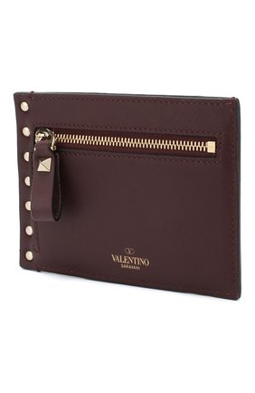 Женский кожаный футляр для кредитных карт valentino garavani rockstud VALENTINO бордового цвета, арт. QW0P0Q60/B0L | Фото 2