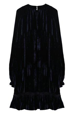 Детское бархатное платье с декором Ermanno Scervino синего цвета | Фото №1