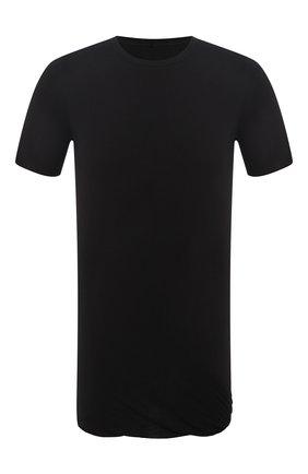 Мужская удлиненная футболка из смеси вискозы и шелка с круглым вырезом RICK OWENS черного цвета, арт. RU18F1256/JS | Фото 1