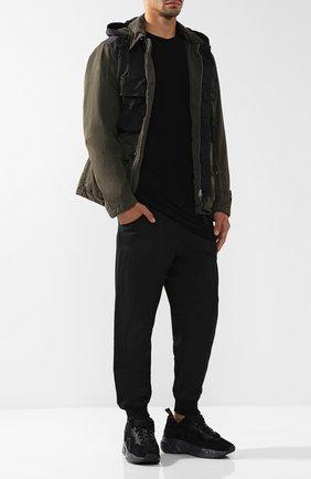 Мужская удлиненная футболка из смеси вискозы и шелка с круглым вырезом RICK OWENS черного цвета, арт. RU18F1256/JS | Фото 2