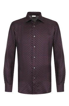 Мужская сорочка из смеси шелка и шерсти с воротником кент BRIONI темно-синего цвета, арт. SCAG0L/0743H | Фото 1