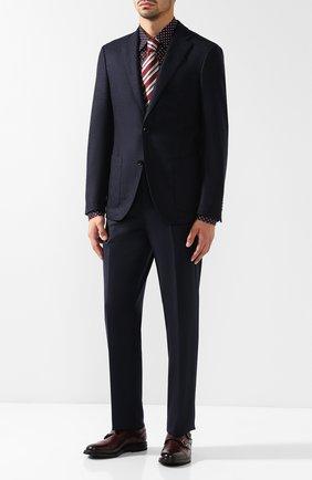 Мужская сорочка из смеси шелка и шерсти с воротником кент BRIONI темно-синего цвета, арт. SCAG0L/0743H | Фото 2