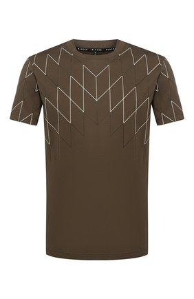 Хлопковая футболка с принтом BLACKBARRETT хаки | Фото №1