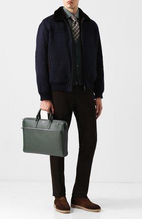 Кожаная сумка для ноутбука Evoluzione с плечевым ремнем Serapian темно-зеленая | Фото №1