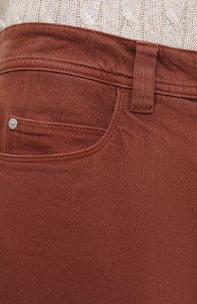 Джинсы прямого кроя Loro Piana бордовые | Фото №5