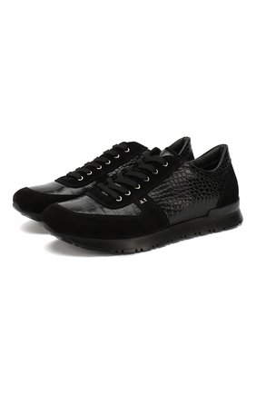 Кожаные кроссовки на шнуровке A. Testoni черные   Фото №1