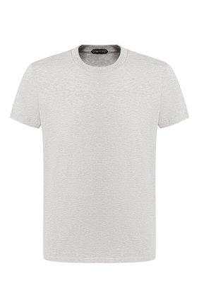 Мужская хлопковая футболка с круглым вырезом TOM FORD серого цвета, арт. BR238/TFJ929   Фото 1