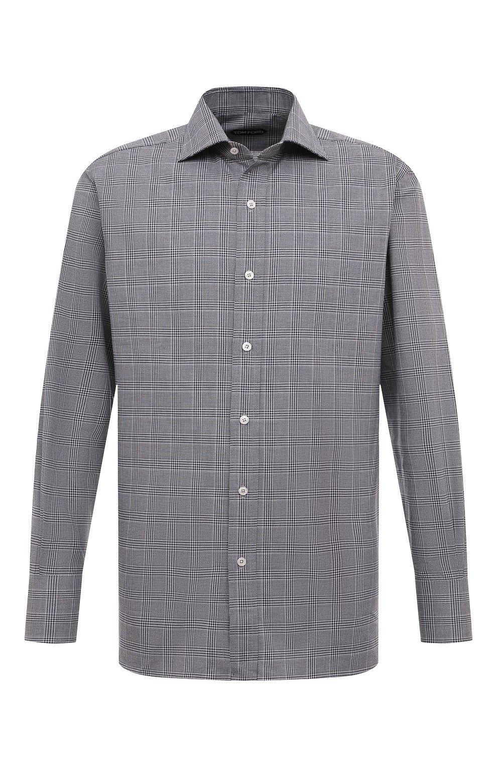 Мужская хлопковая рубашка с воротником кент TOM FORD черно-белого цвета, арт. 4FT181/94C1AX   Фото 1