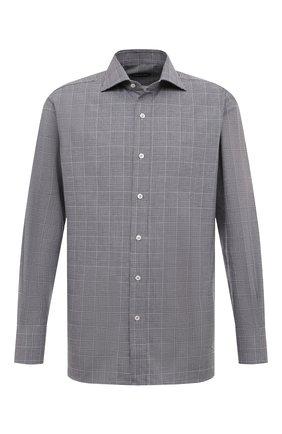 Мужская хлопковая рубашка с воротником кент TOM FORD черно-белого цвета, арт. 4FT181/94C1AX | Фото 1