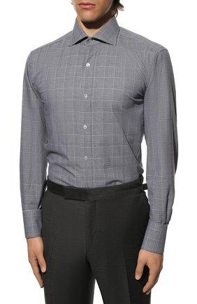 Мужская хлопковая рубашка с воротником кент TOM FORD черно-белого цвета, арт. 4FT181/94C1AX   Фото 3