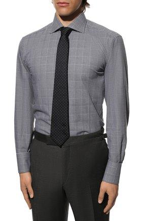 Мужская хлопковая рубашка с воротником кент TOM FORD черно-белого цвета, арт. 4FT181/94C1AX   Фото 4
