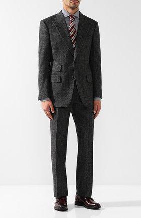 Мужской костюм из смеси шерсти и кашемира с пиджаком на двух пуговицах TOM FORD светло-серого цвета, арт. 438R27/21AL43   Фото 1