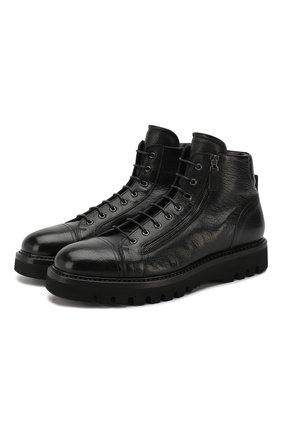 Кожаные ботинки на шнуровке с внутренней меховой отделкой W.Gibbs черные | Фото №1