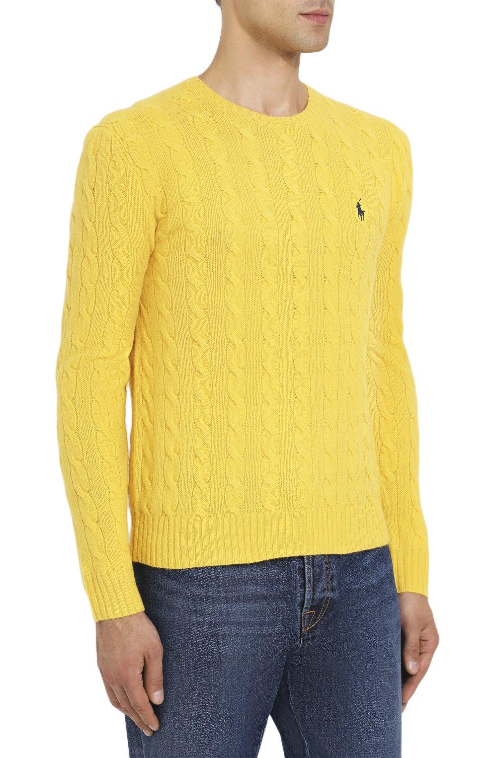 Мужской джемпер из смеси шерсти и кашемира POLO RALPH LAUREN желтого цвета, арт. 710719546 | Фото 3