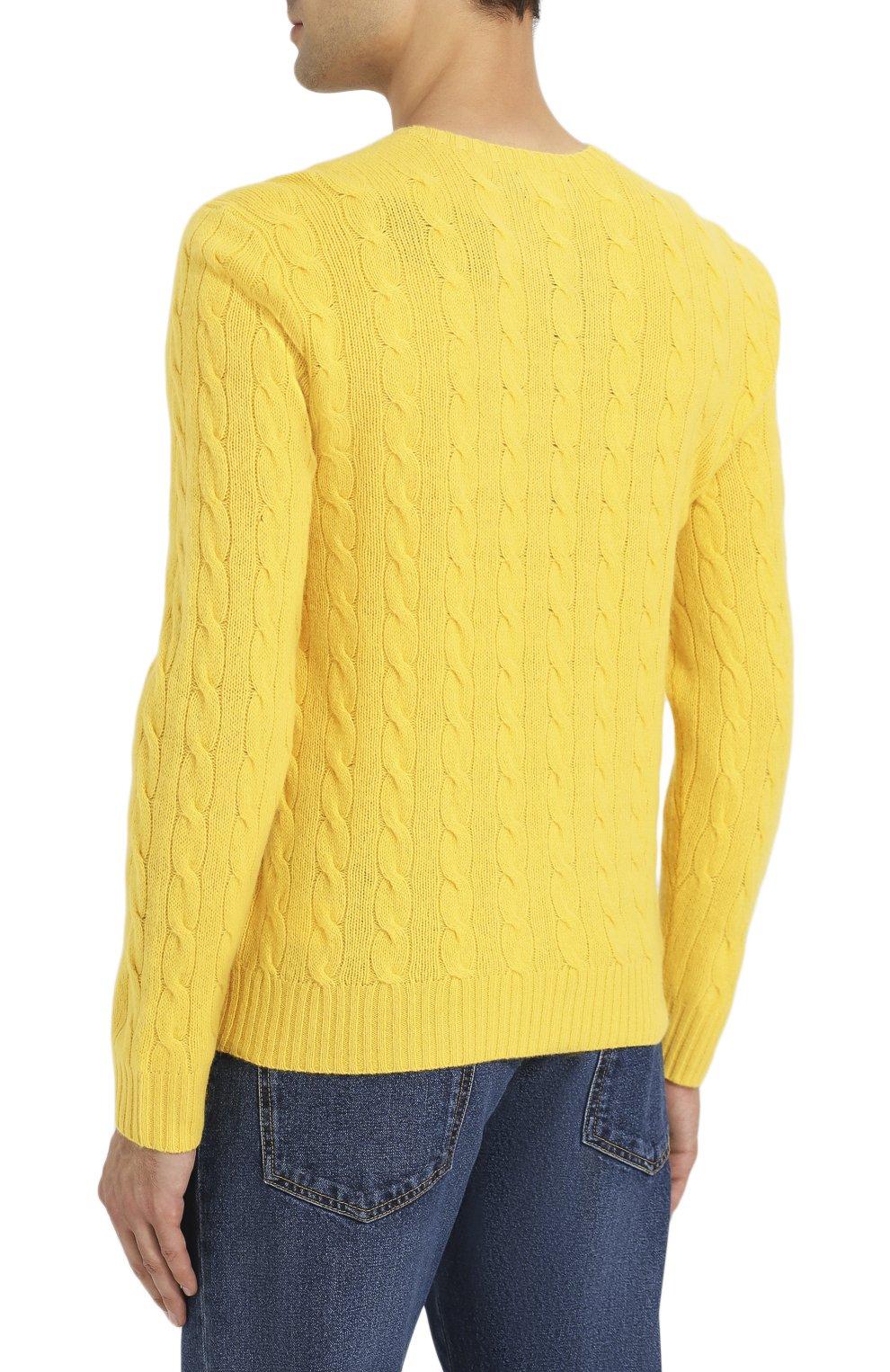 Мужской джемпер из смеси шерсти и кашемира POLO RALPH LAUREN желтого цвета, арт. 710719546 | Фото 4