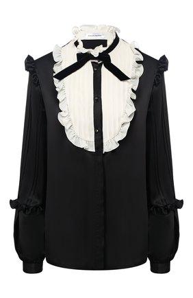 Шелковая блуза с контрастным воротником | Фото №1