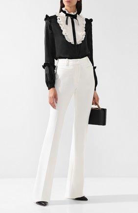 Женская шелковая блуза с контрастным воротником Zuhair Murad, цвет черно-белый, арт. SHP18414/SISA001 в ЦУМ | Фото №1