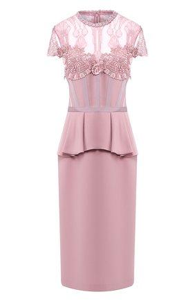 Платье с кружевной вставкой и оборкой | Фото №1