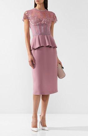 Платье с кружевной вставкой и оборкой Zuhair Murad светло-розовое | Фото №1