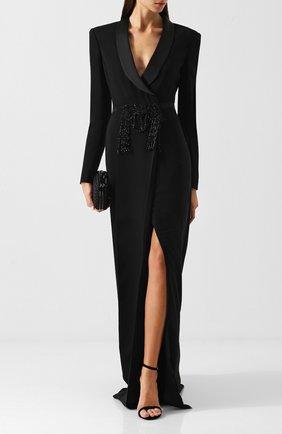 Приталенное платье-макси с декоративной отделкой Zuhair Murad черное | Фото №1