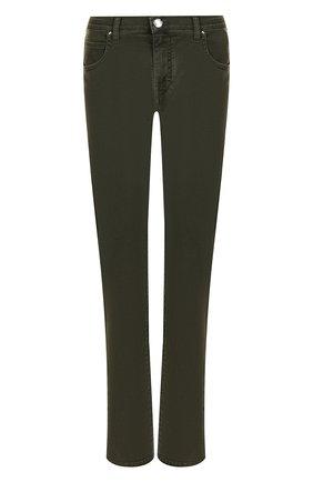 Укороченные джинсы с потертостями Jacob Cohen хаки | Фото №1