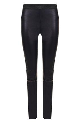Кожаные брюки-скинни с эластичным поясом | Фото №1
