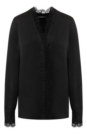 Женская шелковая блуза с кружевной отделкой Alexander McQueen, цвет черный, арт. 543622/QLB50 в ЦУМ   Фото №1