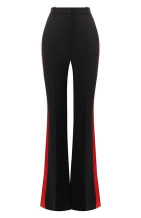 Расклешенные брюки с контрастными лампасами Alexander McQueen черные   Фото №1