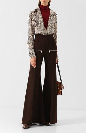 Расклешенные шерстяные брюки с декоративными молниями Chloé коричневые   Фото №1
