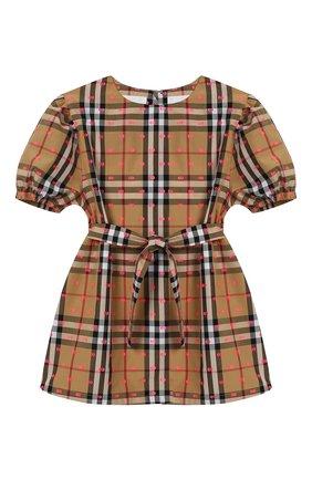 Хлопковое мини-платье с поясом   Фото №1