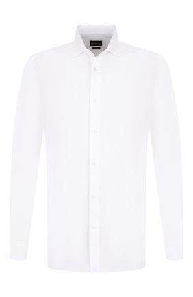 Мужская хлопковая сорочка с воротником кент ERMENEGILDO ZEGNA белого цвета, арт. 401063/9HS0MT | Фото 1