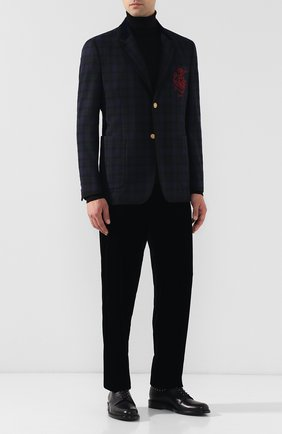 Мужской брюки из вискозы прямого кроя GIORGIO ARMANI синего цвета, арт. 8WGPP012/T0025 | Фото 2