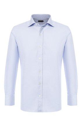 Мужская хлопковая сорочка с воротником кент TOM FORD синего цвета, арт. 4FT824/94S1AX | Фото 1