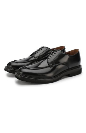 Кожаные дерби на шнуровке W.Gibbs черные | Фото №1