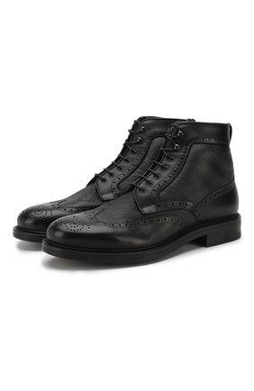 Кожаные ботинки на шнуровке с брогированием и внутренней меховой отделкой W.Gibbs черные | Фото №1